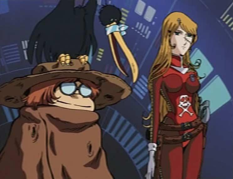 El pájaro de Harlock con otros personajes en Cosmo Warrior Zero