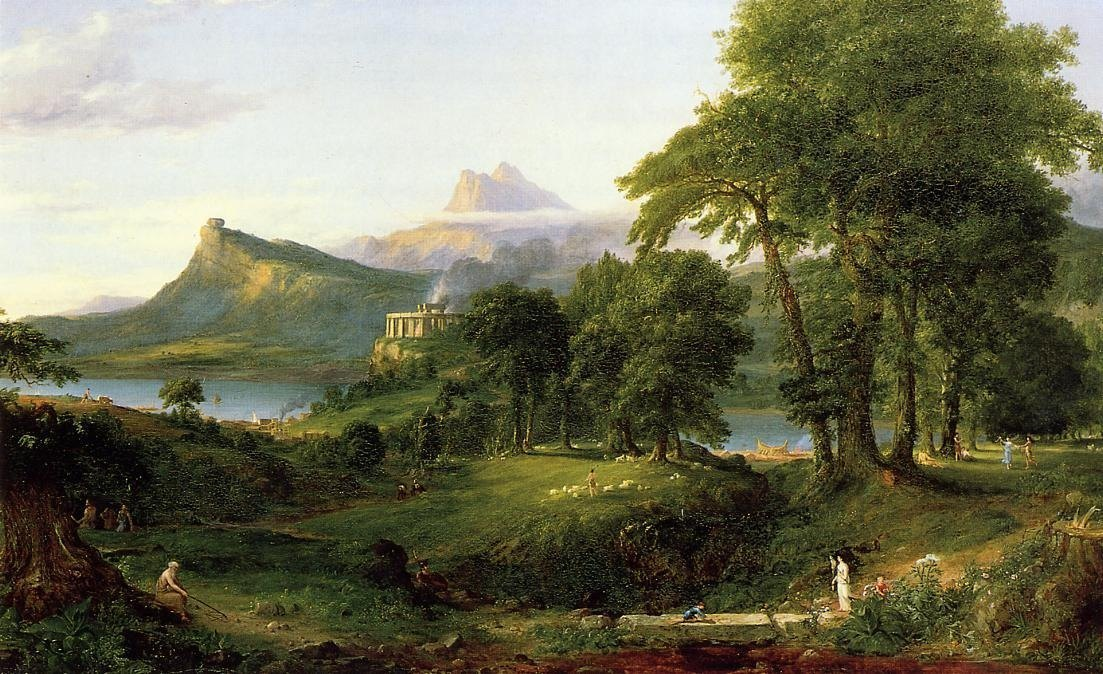 Idealización de las tierras de Arcadia según la visión del pintor romántico Thomas Cole (1836)